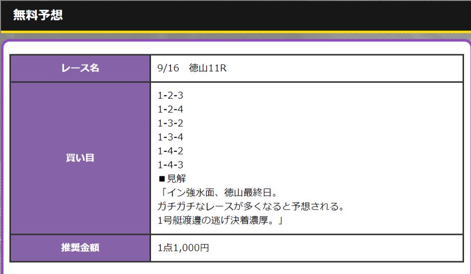 徳山競艇場9月16日の第11レースの無料予想