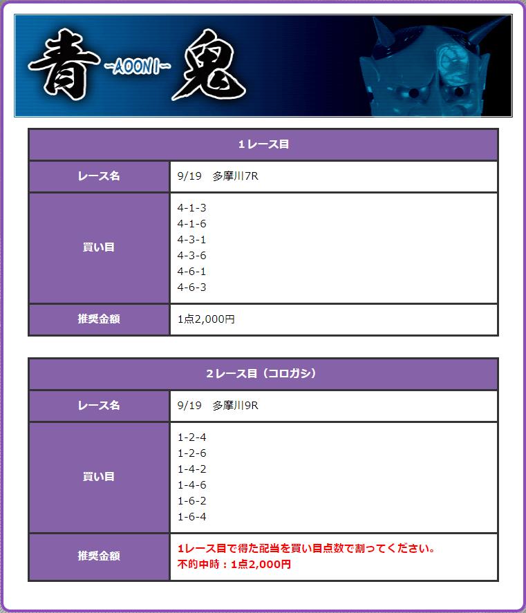 鬼アツ有料プラン青鬼 9月19日多摩川7R・9Rの予想