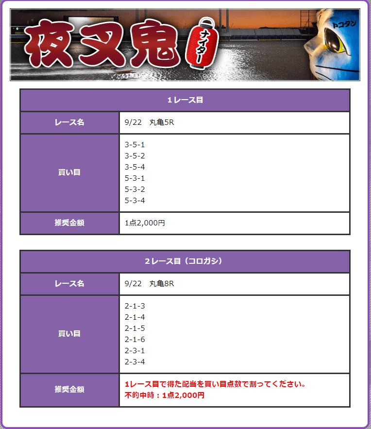 鬼アツ有料プラン夜叉鬼 9月22日丸亀5R・8Rの予想